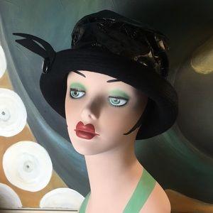 Vintage 1960 Mid Century Dachettes Black Dress Hat